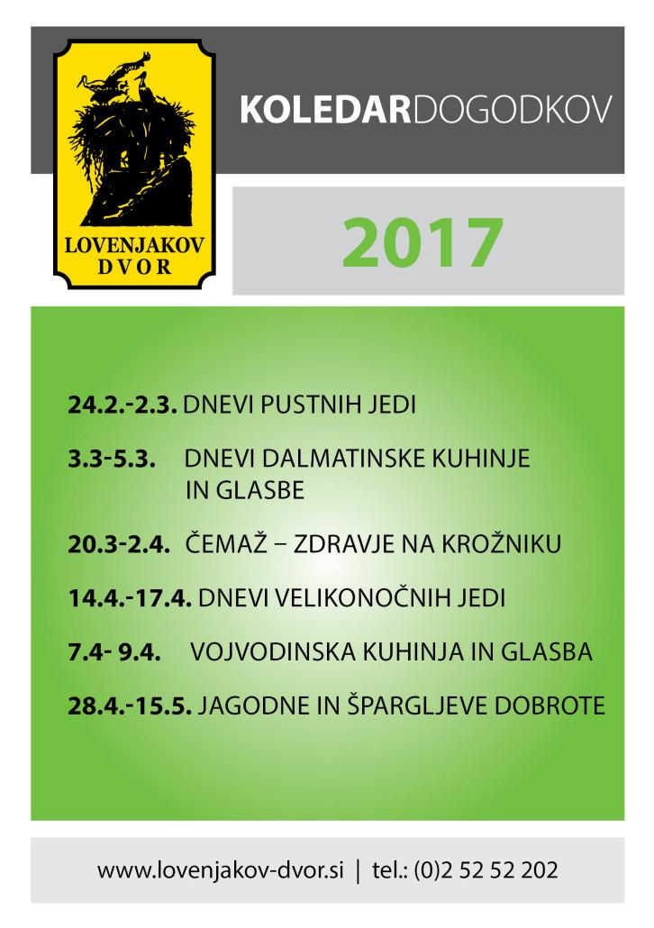 Koledar dogodkov Lovenjak 2017